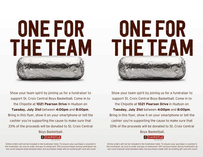 boys basketball chipotle fundraiser