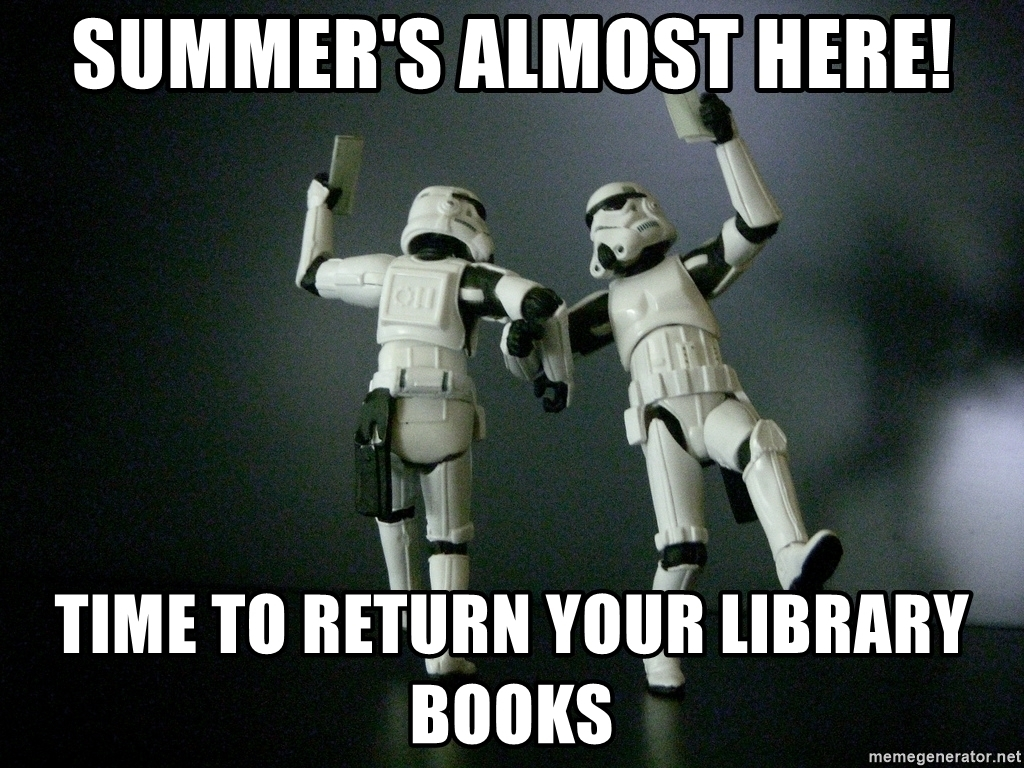 storm troopers dancing with text return your library books