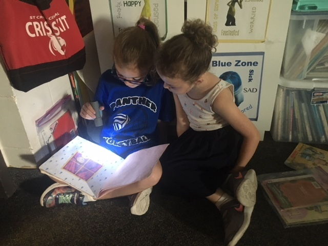 Fri-Yay flashlight reading in Mrs. Cicha's class