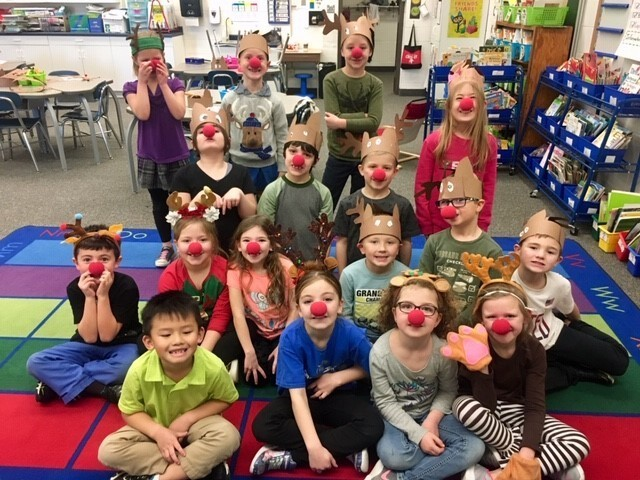 Mrs. Cicha's class had fun dressing up as reindeer!