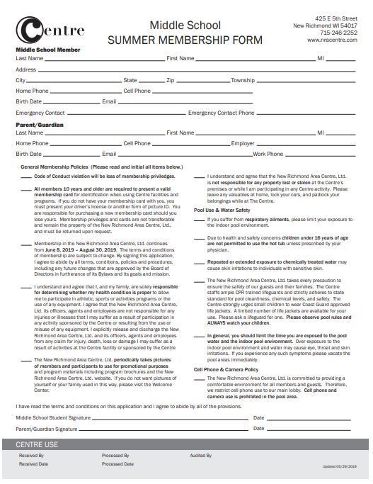 The Centre Registration Forms