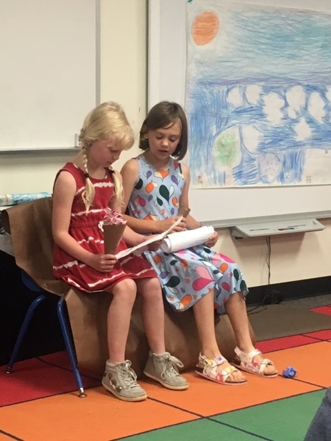 Some of the students chose to write their own plays.This play was about two friends named Heather and Jane.