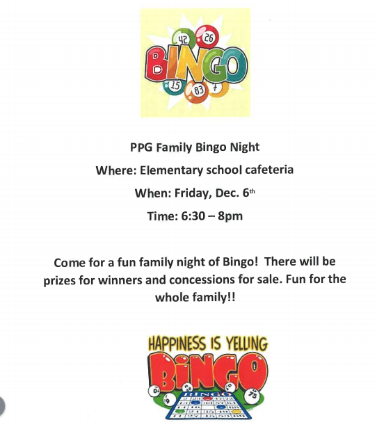 PPG Family Bingo Night, Dec. 6th. 6:30-8:00 p.m.